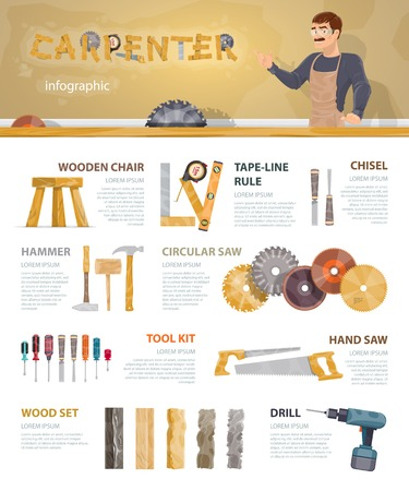 Colorful carpentry infographic template with professional instruments tools accessories and equipment of carpenter vector illustration 向量圖像
