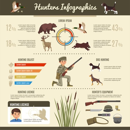 Hunting infographic template with hunter animals weapon binocular pot hat bag and license vector illustration Ilustração