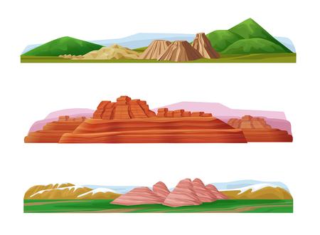 만화 다채로운 산악 풍경 세트 일러스트
