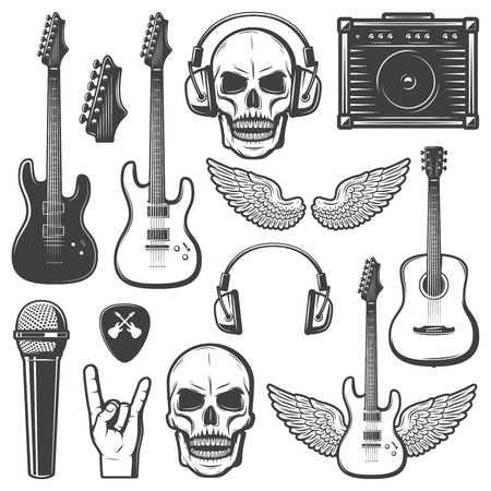 Vintage Rock Music Elements Set Illustration
