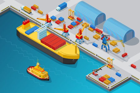 Isometric Seaport And Dock Template Illustration