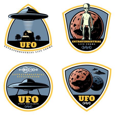 Vintage Colored UFO Emblems Set Illusztráció