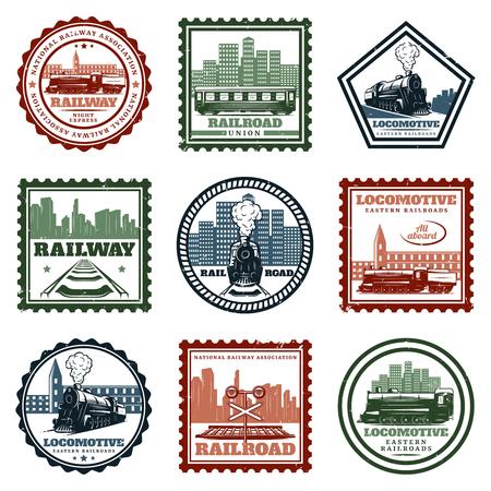 Vintage locomotieven stickers en stempels instellen