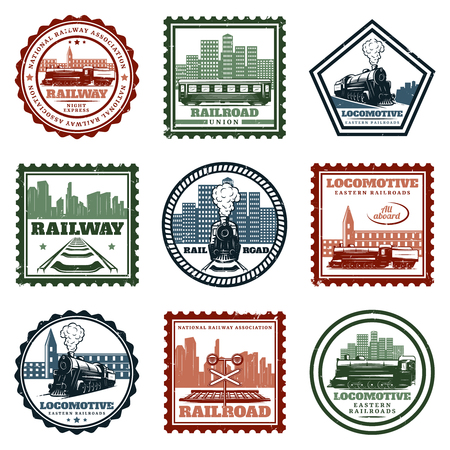 Vintage Locomotive Stickers And Stamps Set