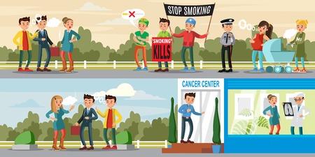 Harmful Habit Horizontal Banners Illustration