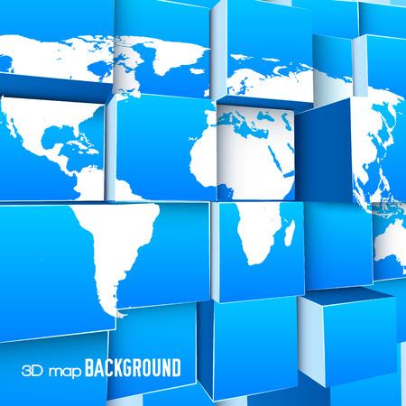 背景を 3 d 世界地図  イラスト・ベクター素材