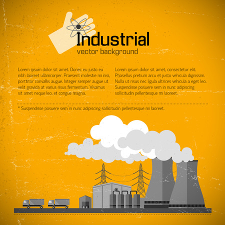 Gelber Hintergrund mit Fabrik Standard-Bild - 83963561