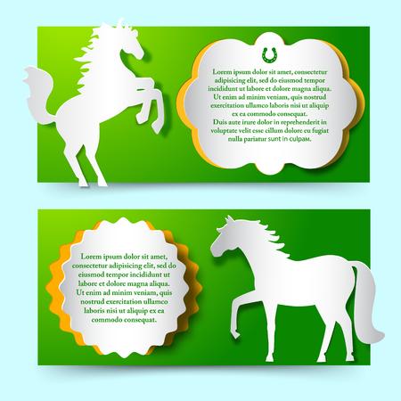 グリーン白い馬をジャンプとセットをバナーします。  イラスト・ベクター素材