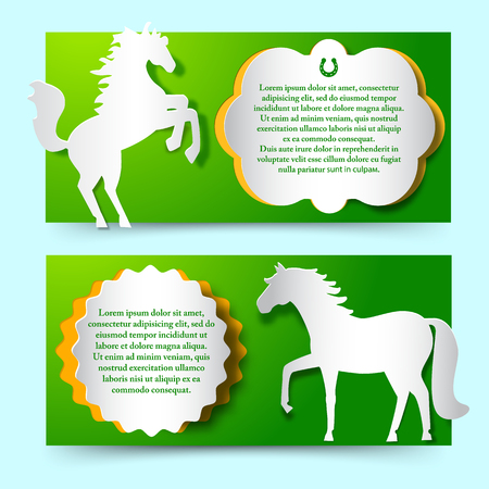 Green Banners Set With Jumping White Horse