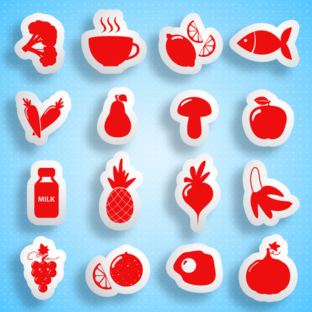 proper: Healthy Food Paper Icons Set