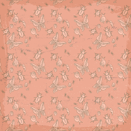 Vintage Insects Seamless Pattern