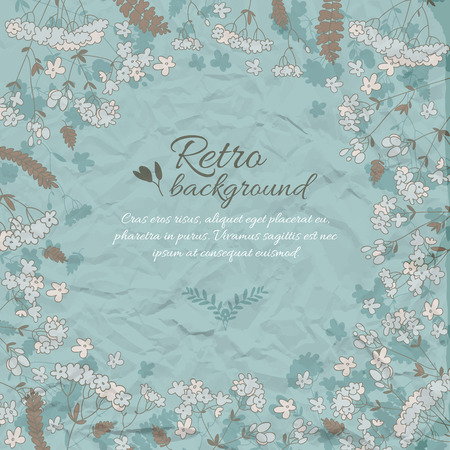 Retro Flowery Decorative Background Illustration