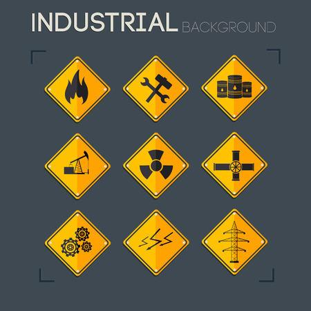 Industrial icons collection of gas wrench barrel nuclear pumpjack pipes gears lightnings electricity line isolated vector illustration Stock Vector - 84067959