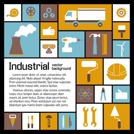 Industrieel elementenmalplaatje met tekst en de bouwproductie vlakke pictogrammen op kleurrijke vierkanten vectorillustratie Stock Illustratie
