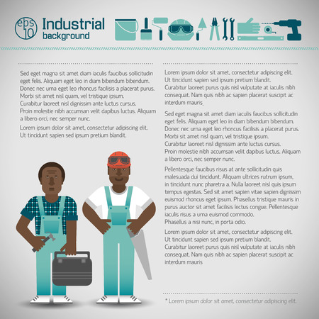 Workmen And Industrial Instruments Background, vector illustration.