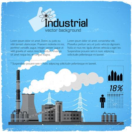 De industriële bouw met schoorstenen elektrische lijnen en infografic elementen op blauwe versleten vectorillustratie als achtergrond Stock Illustratie