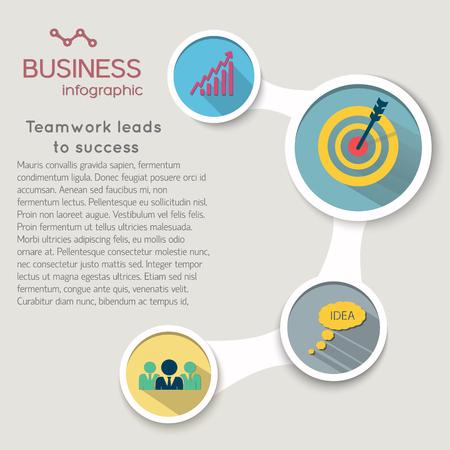 Lments infographiques commerciaux avec des cercles de flux et icônes dans le style plat isolé illustration vectorielle Banque d'images - 84068023