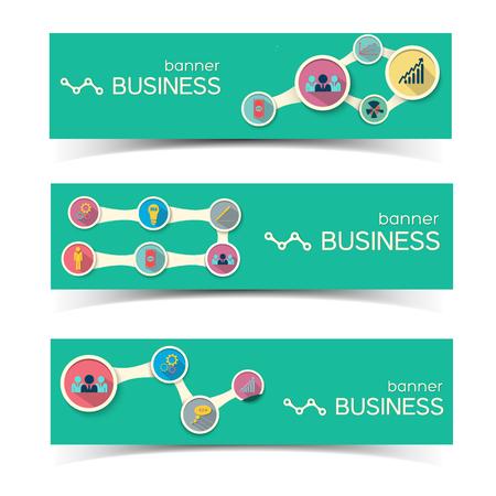 Bannières horizontales d & # 39 ; affaires abstraites fixés avec des cercles cercles de débit et icônes plats sur fond vert illustration vectorielle Banque d'images - 84068029
