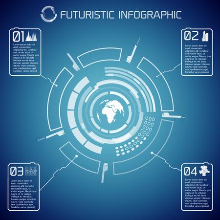 Virtual Futuristic Infographic Template Ilustrace