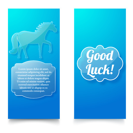 Good Luck Wishing Blue Vertical Banners vector illustration. Illustration