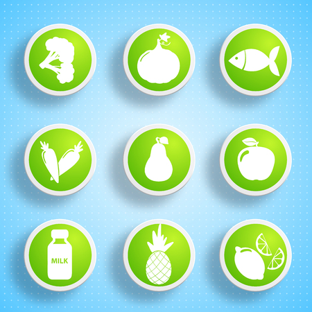 Healthy Food Icons Set vector illustration. 일러스트