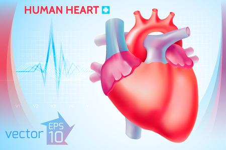 明るい青の背景ベクトル イラストをカラフルな人間の心を持つ医療健康テンプレート  イラスト・ベクター素材