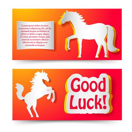 Buona fortuna che desiderano le carte di carta insieme con cavallo che salta come simbolo di nuovo anno illustrazione vettoriale piatto Archivio Fotografico - 84068311