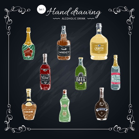 Alcoholic drinks hand drawn collection.