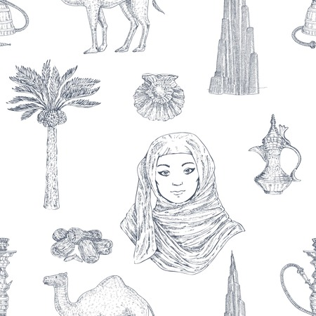 Dubai hand drawn pattern. Illusztráció
