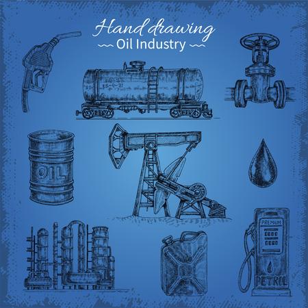 Main dessin des éléments de pétrole illustration Banque d'images - 84160054