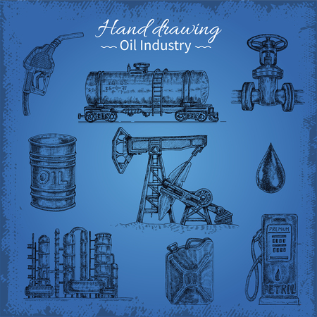 Hand drawing oil elements illustration.