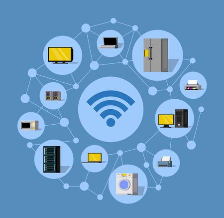 Wireless technology round composition. Illustration