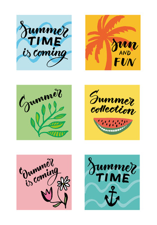 Colorful summer typographic cards set.