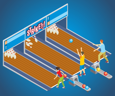 Isometric bowling game concept.