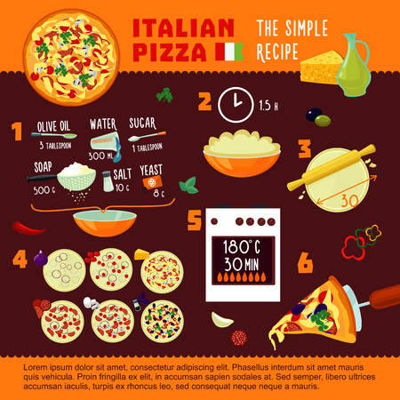 Italian pizza recipe concept. Illustration