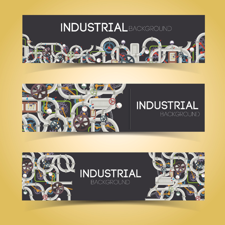 Industrial Machinery Horizontal Banners Illustration