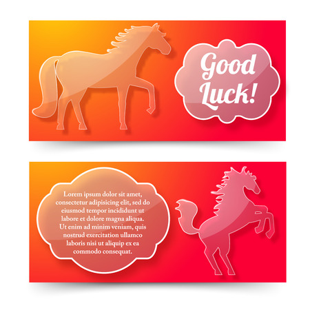 Happy New Year Of Horse Banners Set Иллюстрация