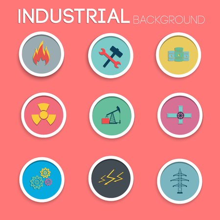 Industrial Icons Set Stock Vector - 84432872