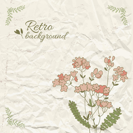 Retro Floral Template Ilustrace