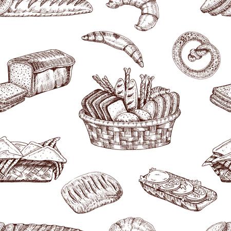 パン屋さんの手の描かれたシームレス パターン
