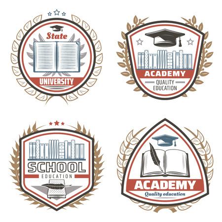 Vintage Gekleurde Onderwijs Emblemen Set Stock Illustratie