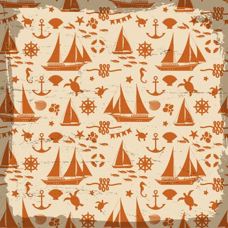 Marine Seamless Pattern. Illustration