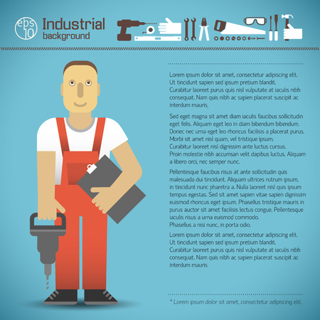 Industrial Background With Worker. Illustration
