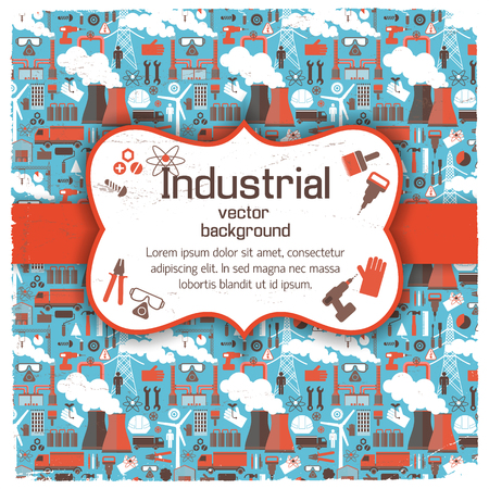 Figured Placard On Industrial Background. Illustration