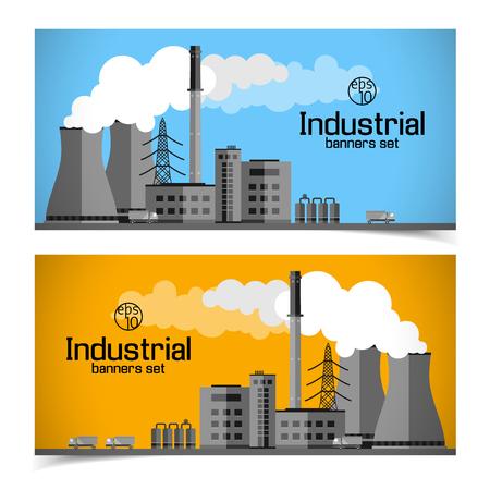 Industrial Enterprise Banners. Иллюстрация