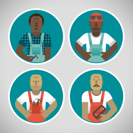 Round Portraits Of Workers Set.