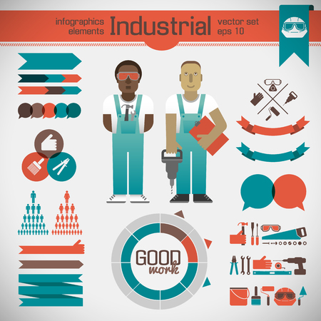 Industrial Infographic Template. 向量圖像