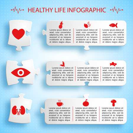 健康的なライフ スタイルのインフォ グラフィック パズルのデザイン。  イラスト・ベクター素材