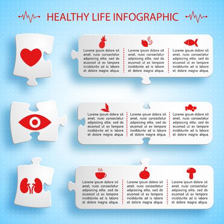 Healthy Lifestyle Infographics Puzzle Design. Ilustrace