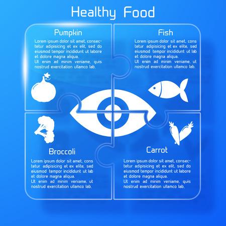 건강 식품 Infographics 퍼즐 디자인 벡터 일러스트 레이 션. 일러스트